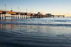 Belmont Shores Pier Long Beach Sunset Wideangle Royalty Free Stock Photos