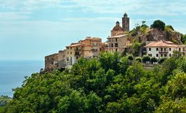 Belmonte Calabro town, Calabria, Italy. Old Belmonte Calabro town on mountain hill top, province of Cosenza, Calabria, Italy royalty free stock photos
