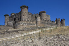 Belmonte Fortress - La Mancha - Spain. The medieval castle in the town of Belmonte in the La Mancha region of central Spain Royalty Free Stock Photography