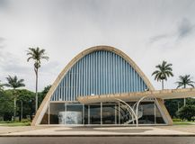 Modernist church of Sao Francisco de Assis in Belo Horizonte, Brazil. Belo Horizonte, Brazil - Dec 26, 2017: Modernist church of Sao Francisco de Assis by Oscar Royalty Free Stock Photo