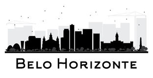 Belo Horizonte City skyline black and white silhouette. Royalty Free Stock Images