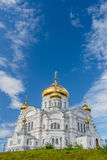 Belogorsky Cathedral. Russian Orthodox Church covered with gold under blue skies. Royalty Free Stock Photography