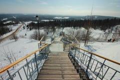 Belogorsky-Kloster Panoramablick vom weißen Berg Permskiy Kray, Russland lizenzfreies stockfoto