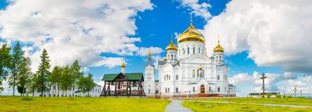 Belogorsky Monastery in Perm Krai, Russia. Panorama. Panoramic view of the Belogorsky Monastery. Perm Krai. Russia. Panorama Stock Photo