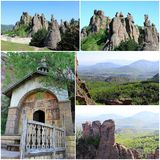 The Belogradchik Rocks and Chapel. The Belogradchik Rocks are a group of rock formations with bizarre shapes. They are situated in the Balkan Mountains (Stara Stock Image
