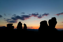 Belogradchik Rocks at sunset. The Belogradchik Rocks are a group of strange shaped sandstone and conglomerate rock formations located on the western slopes of Royalty Free Stock Photography