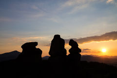 Belogradchik rocks at sunset. The Belogradchik Rocks are a group of strange shaped sandstone and conglomerate rock formations located on the western slopes of Royalty Free Stock Photo
