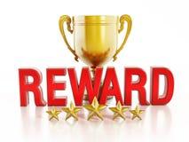 Belohnungstext und Goldschale Stockbild