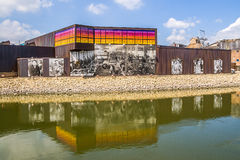 Beloit Iron Works mural at the edge of the Rock River Royalty Free Stock Photos