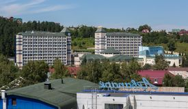 Sanatorium Belokurikha in the resort city of Belokurikha in the Altai Krai. Belokurikha, Russia - July 25, 2015: Sanatorium Belokurikha in the resort city of Stock Photography