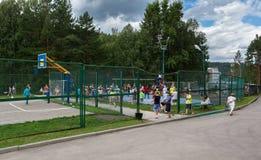 Territory of children`s sanatorium Belokurikha in the Altai Krai. Belokurikha, Russia - July 29, 2015: Territory of children`s sanatorium Belokurikha in the Royalty Free Stock Image