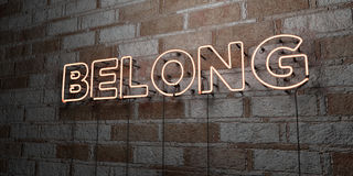 BELONG - Glowing Neon Sign on stonework wall - 3D rendered royalty free stock illustration Royalty Free Stock Photos