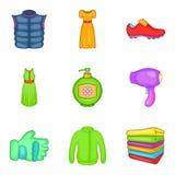 Belongings icons set, cartoon style Royalty Free Stock Photo