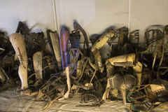 Belongings (prosthesis) of the people killed in Auschwitz Royalty Free Stock Photos