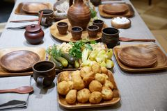 Belorussian cuisine. Tasty and beautifully designed food Royalty Free Stock Images