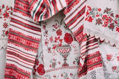 Belorussian Ethnic National Folks Ornament On Clothes. Slavic Traditional Pattern Ornament Embroidery Stock Images