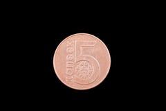 Belorussian five kopeck coin on black. Belorussian five kopeck coin close up on a black background Stock Photos