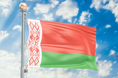 Belorussian flag waving in blue cloudy sky, 3D rendering Royalty Free Stock Images
