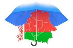 Belorussian map under umbrella. Security and protect or insuranc. E concept, 3D Stock Image