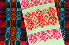 Belorussian towel with a classic geometric patterns Royalty Free Stock Image