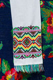 Belorussian towel with colorful geometric patterns Stock Image