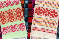 Belorussian towels with a classic geometric ornament Stock Photography