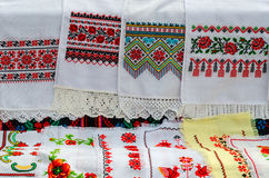 Belorussian towels with embroidered traditional ornament Royalty Free Stock Photo