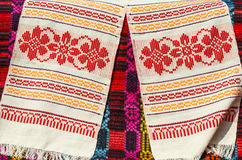 Belorussian towels with traditional geometric patterns Stock Photos