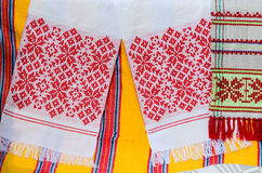 Belorussian towels with a traditional ornament Royalty Free Stock Photos