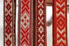 Belorussian traditionella bälten royaltyfria bilder