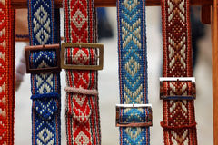 Belorussian traditionella bälten arkivbilder