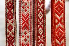 Belorussian traditionella bälten royaltyfria foton