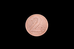 Belorussian two kopeck coin on black. Belorussian two kopeck coin close up on a black background Stock Images