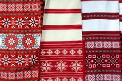 Belorussian vävd handduk tre med mångfärgat geometriskt smattrande Royaltyfri Bild