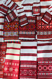 Belorussian woven towels. With various brightly colored geometric patterns Royalty Free Stock Images