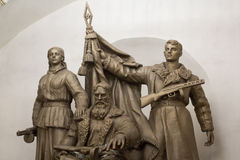 Belorusskaya metro station partisan sculpture, Moscow, Russia Royalty Free Stock Photo