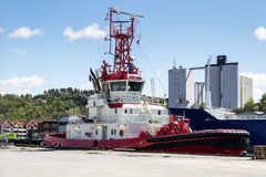 BELOS tug and pilot boat. Belos is a tug and pilot boat in the harbor of Halden, Norway Royalty Free Stock Photos