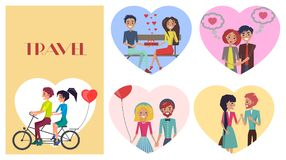 Beloved Female with Sweetheart Male Travel Card. Beloved female with sweetheart male travel, ride bicycle vector illustration. Couples in love with present in Royalty Free Stock Photo