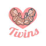 Beloved newborn little baby twins smiling Stock Image