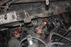 BELOVO, RUSSIA JULY 17, 2015: Miners perform installation of structures below ground in the mine Royalty Free Stock Photos
