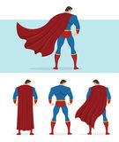 Rear view of superhero with red cape flowing in the wind. Below are 3 additional versions. No gradients used Royalty Free Stock Photos