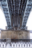 Below the bridge. Steel bridge structure view from below Royalty Free Stock Photo