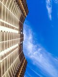 Below the building. Low angle shot of a high rise building Royalty Free Stock Photography