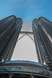 From below KLCC. View from down to up KLCC in the morning in the middle or centre royalty free stock photography
