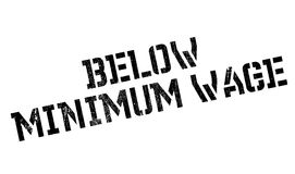 Below Minimum Wage rubber stamp. Grunge design with dust scratches. Effects can be easily removed for a clean, crisp look. Color is easily changed Royalty Free Stock Images