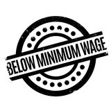 Below Minimum Wage rubber stamp. Grunge design with dust scratches. Effects can be easily removed for a clean, crisp look. Color is easily changed Stock Image