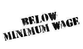 Below Minimum Wage rubber stamp. Grunge design with dust scratches. Effects can be easily removed for a clean, crisp look. Color is easily changed Royalty Free Stock Image