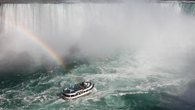 Below Niagara Falls with a tour boat and rainbow in the spray