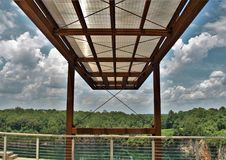 Below Observation Deck at Quarry Park in Winston-Salem. Once an old granite quarry, the mostly wooded 200 acres was acquired by the city and in 2017 opened as royalty free stock photography