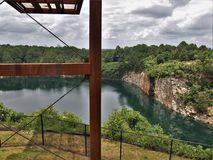 Below Overlook at Quarry Park in Winston-Salem. Once an old granite quarry, the mostly wooded 200 acres was acquired by the city and in 2017 opened as Forsyth stock photography